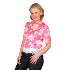 "Vintage Blouse Pink Cotton Middy  W/Rose Print 1950S 39"" Bust - The Best Vintage Clothing  - 5"