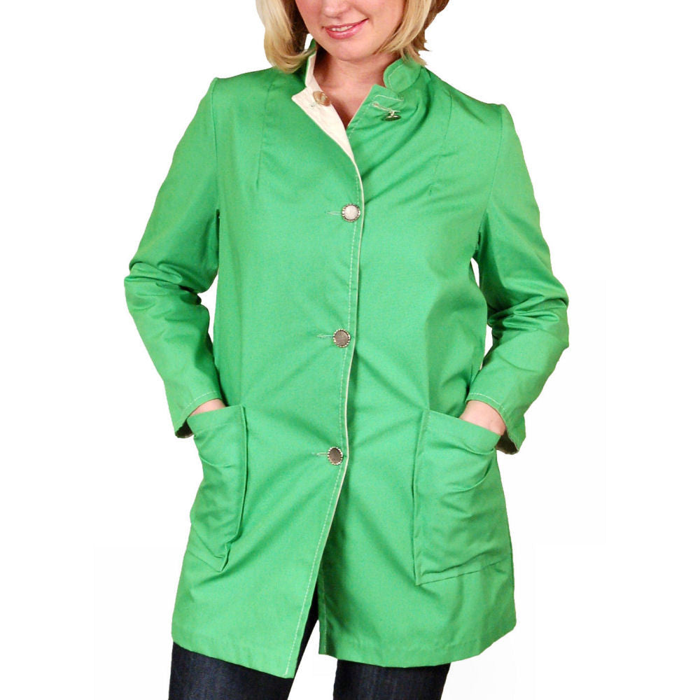 "Vintage Womens Coat Lime/Natural Reversible 1960'S 40"" Bust - The Best Vintage Clothing  - 1"
