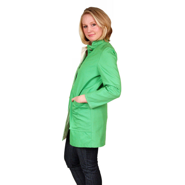 "Vintage Womens Coat Lime/Natural Reversible 1960'S 40"" Bust - The Best Vintage Clothing  - 3"
