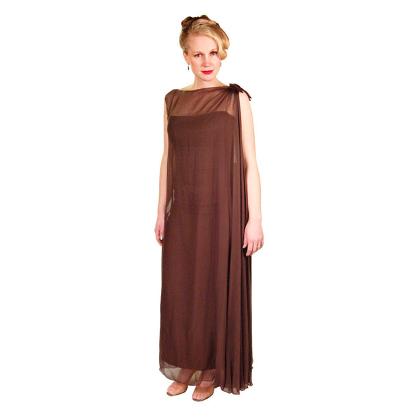 Vintage Silk Chiffon Grecian Goddess Gown Chocolate 1970S 34 - The Best Vintage Clothing  - 2