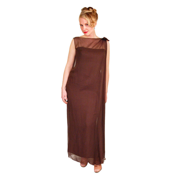 Vintage Silk Chiffon Grecian Goddess Gown Chocolate 1970S 34 - The Best Vintage Clothing  - 4