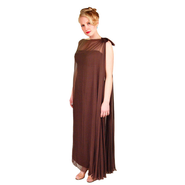 Vintage Silk Chiffon Grecian Goddess Gown Chocolate 1970S 34 - The Best Vintage Clothing  - 6
