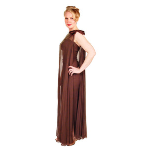 Vintage Silk Chiffon Grecian Goddess Gown Chocolate 1970S 34 - The Best Vintage Clothing  - 1