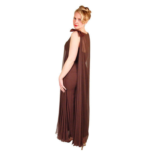 Vintage Silk Chiffon Grecian Goddess Gown Chocolate 1970S 34 - The Best Vintage Clothing  - 5