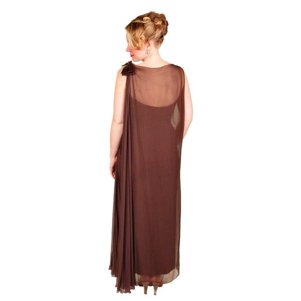 Vintage Silk Chiffon Grecian Goddess Gown Chocolate 1970S 34 - The Best Vintage Clothing  - 3
