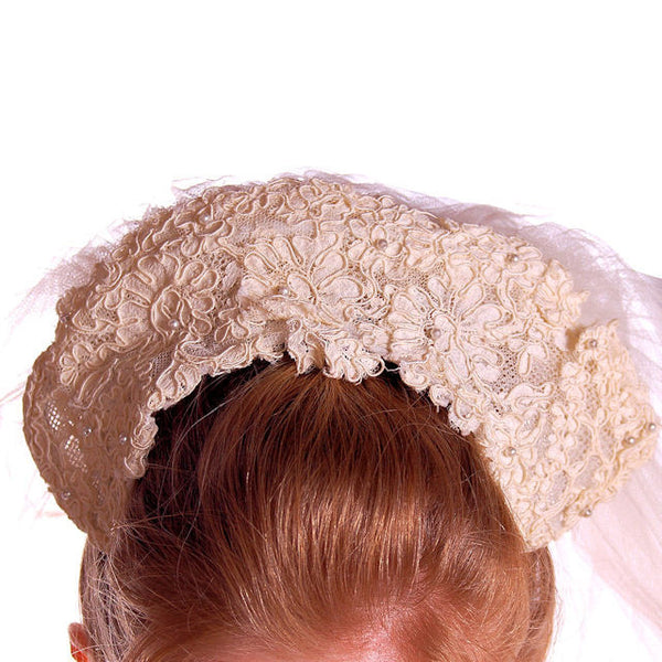 "Vintage Wedding Veil Lace Headpiece 1950's 100"" - The Best Vintage Clothing  - 3"