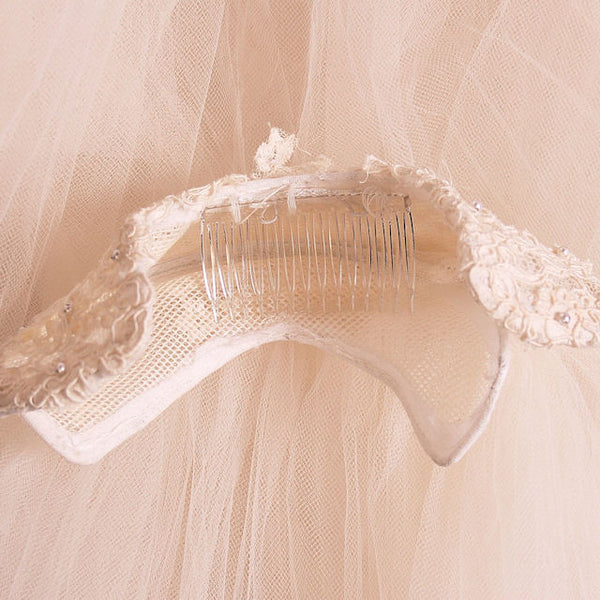 "Vintage Wedding Veil Lace Headpiece 1950's 100"" - The Best Vintage Clothing  - 4"