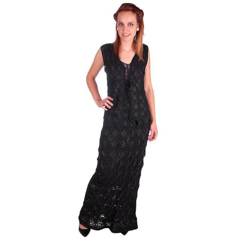 Stunning Vintage Black Hand Crocheted  Corde Vest / Maxi Skirt Slim Small Size 1970s