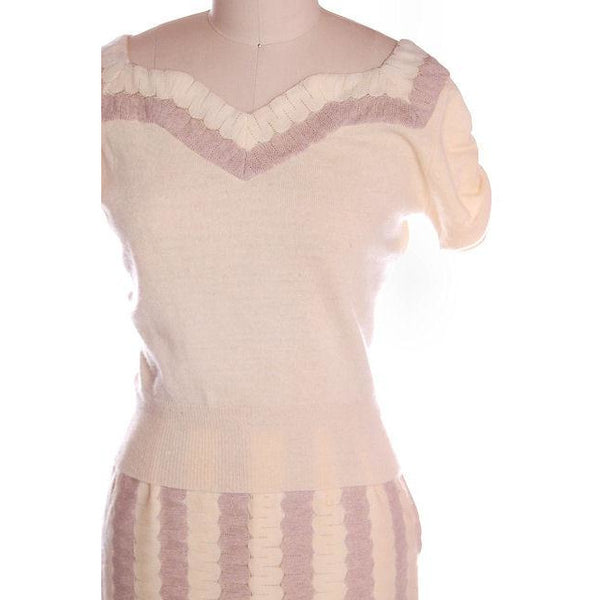 Vintage Sweater Suit 100% Cashmere Dorine Liebert Beige Sz 4 - The Best Vintage Clothing  - 2