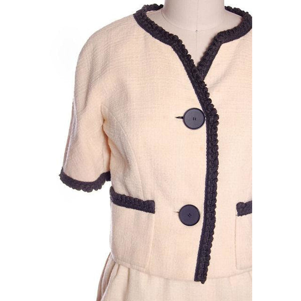 Vintage Suit Ivory Wool /Charcoal Trim Jablow 1950 Costume Damaged - The Best Vintage Clothing  - 7