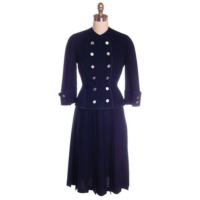 Vintage Navy Gab Suit Double Breasted Blums 1940s Sz 4 36-25-Free - The Best Vintage Clothing  - 1