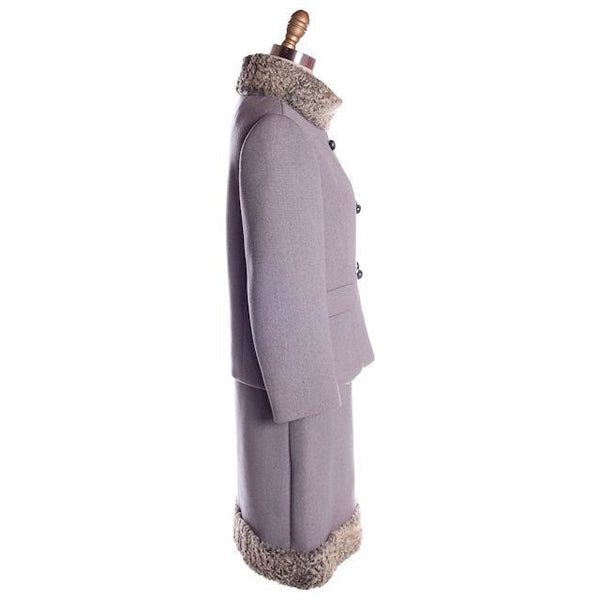 Vintage Gray Suit Silver Persian Lamb Stand Up Collar Late 1950s 39-26-38 - The Best Vintage Clothing  - 2