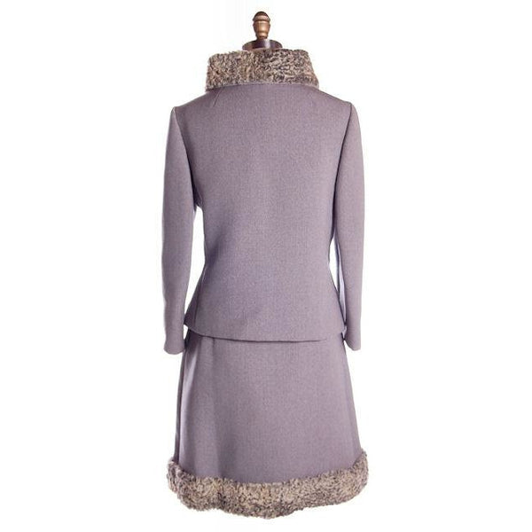 Vintage Gray Suit Silver Persian Lamb Stand Up Collar Late 1950s 39-26-38 - The Best Vintage Clothing  - 3