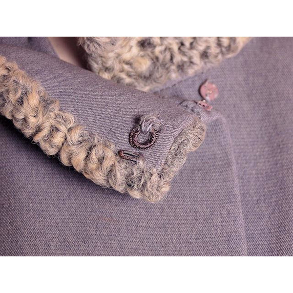 Vintage Gray Suit Silver Persian Lamb Stand Up Collar Late 1950s 39-26-38 - The Best Vintage Clothing  - 5