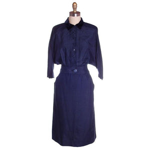 Vintage Womens Blue Silk Day Suit with Great Sleeves 1940s Sz 6 Tailored Junior - The Best Vintage Clothing  - 1