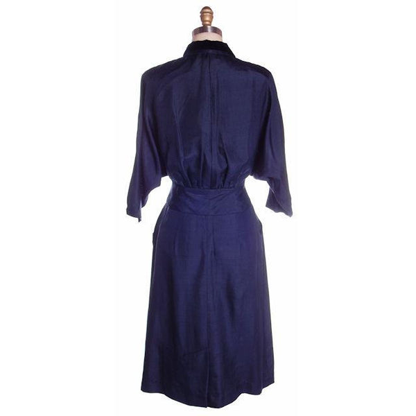 Vintage Womens Blue Silk Day Suit with Great Sleeves 1940s Sz 6 Tailored Junior - The Best Vintage Clothing  - 5