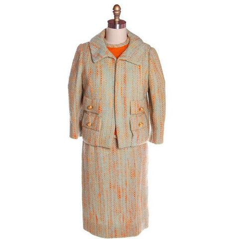Vintage Orange Aqua Tweed 3 pc Suit Samuel Winston Mollie Abrahamson1960s 38-25-38