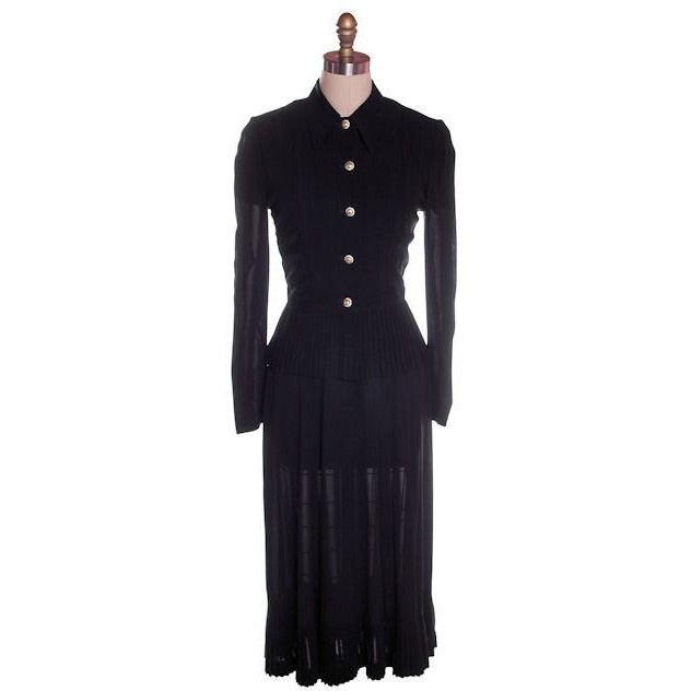 Vintage 2 PC Black Rayon Jacket & Dress w/Pleat Detail 1940s 35-26-38 - The Best Vintage Clothing  - 1