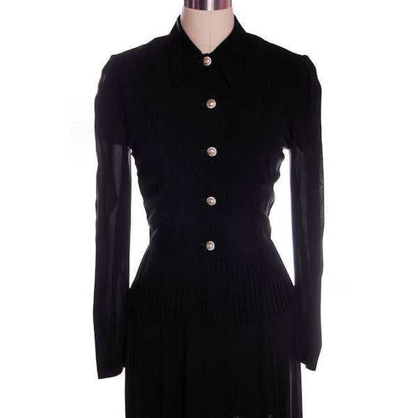 Vintage 2 PC Black Rayon Jacket & Dress w/Pleat Detail 1940s 35-26-38 - The Best Vintage Clothing  - 2