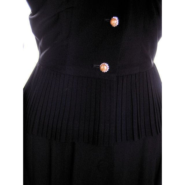 Vintage 2 PC Black Rayon Jacket & Dress w/Pleat Detail 1940s 35-26-38 - The Best Vintage Clothing  - 12