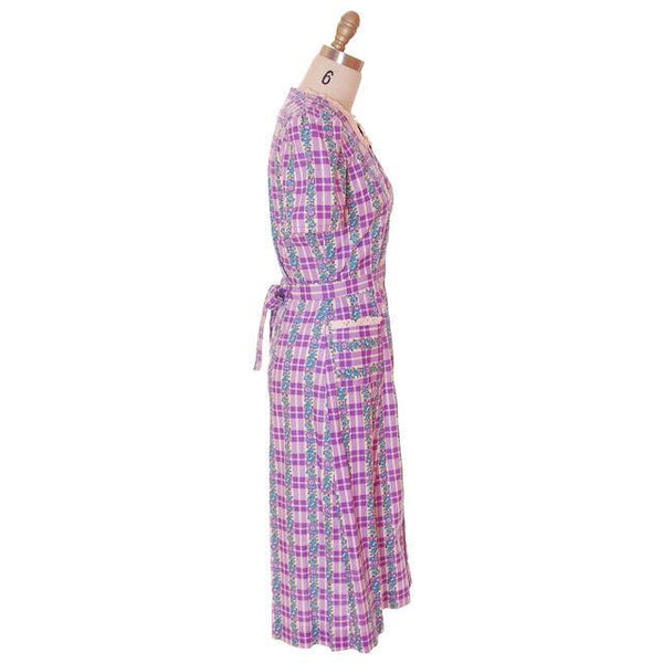 Vintage Cotton Printed  House Dress Purple Plaid Kenrose  Zip Front Early 1940s 38-28-38 - The Best Vintage Clothing  - 2