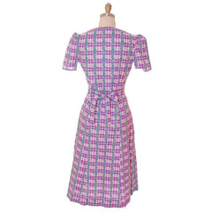 Vintage Cotton Printed  House Dress Purple Plaid Kenrose  Zip Front Early 1940s 38-28-38 - The Best Vintage Clothing  - 3