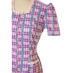 Vintage Cotton Printed  House Dress Purple Plaid Kenrose  Zip Front Early 1940s 38-28-38 - The Best Vintage Clothing  - 4