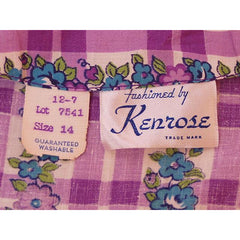 Vintage Cotton Printed  House Dress Purple Plaid Kenrose  Zip Front Early 1940s 38-28-38 - The Best Vintage Clothing  - 6