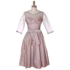 Vintage Party Dress Silk Organza in Mauve 1950s Ferman O'Grady 36-24-Free - The Best Vintage Clothing  - 2