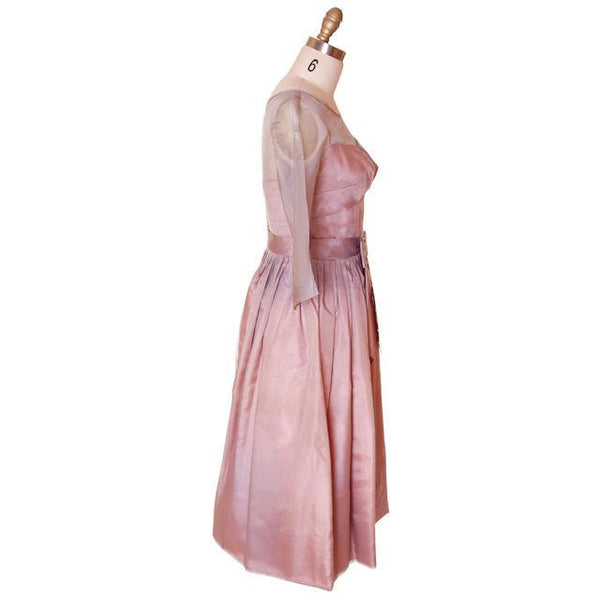 Vintage Party Dress Silk Organza in Mauve 1950s Ferman O'Grady 36-24-Free - The Best Vintage Clothing  - 3