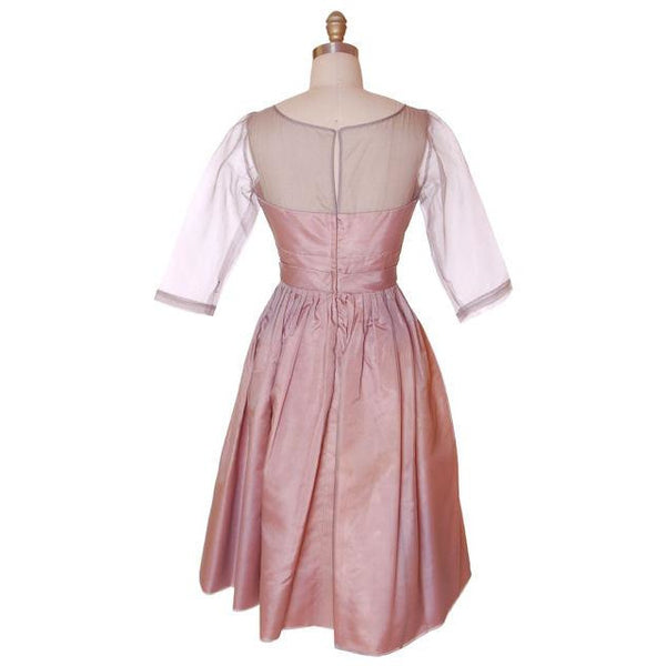 Vintage Party Dress Silk Organza in Mauve 1950s Ferman O'Grady 36-24-Free - The Best Vintage Clothing  - 4