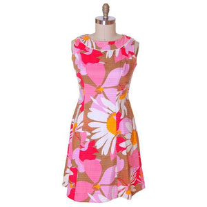 Vintage Cotton Hawaiian Print Sleeveless Dress 1960s 38-33-42 - The Best Vintage Clothing  - 1