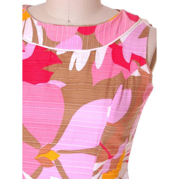 Vintage Cotton Hawaiian Print Sleeveless Dress 1960s 38-33-42 - The Best Vintage Clothing  - 4