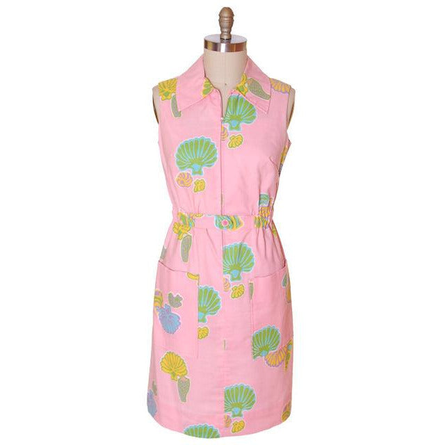 Vintage Pink Swirl Dress Sea Shell Pattern Concept 70s 40-34-43 - The Best Vintage Clothing  - 1