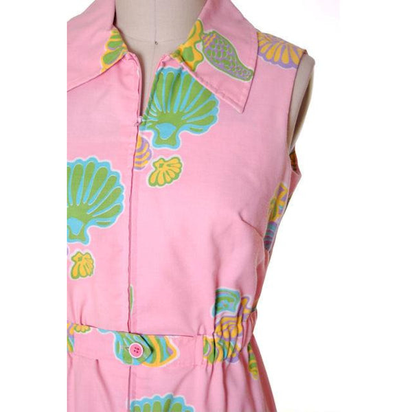 Vintage Pink Swirl Dress Sea Shell Pattern Concept 70s 40-34-43 - The Best Vintage Clothing  - 4