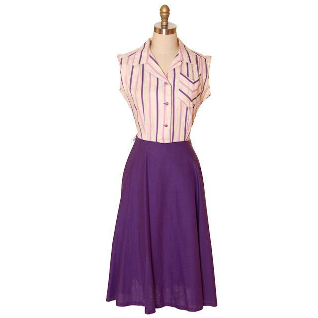 Vintage House Dress Purple/Stripes 1940s 43-30-48 - The Best Vintage Clothing  - 1