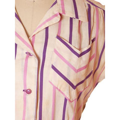 Vintage House Dress Purple/Stripes 1940s 43-30-48 - The Best Vintage Clothing  - 5
