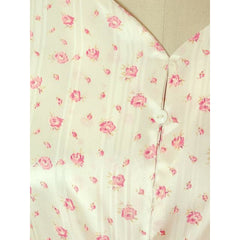 Vintage Nightgown Rayon Satin Bias Cut Pink Roses 1930s XL 52-40-48 - The Best Vintage Clothing  - 5
