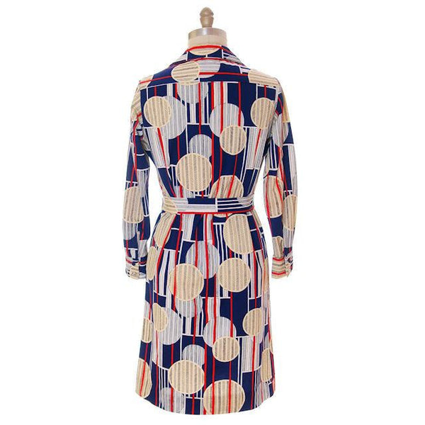 Vintage Lanvin Paris  Dress Geometric Design 1970s 41-37-41 - The Best Vintage Clothing  - 3