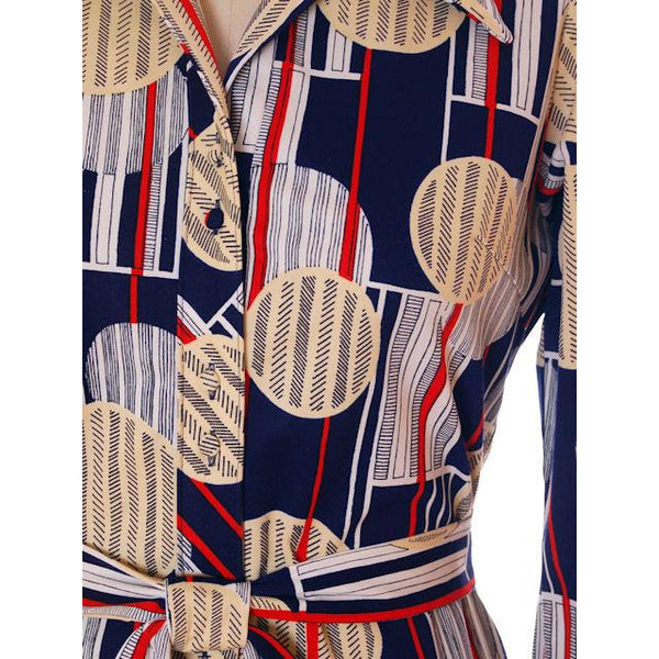 Vintage Lanvin Paris  Dress Geometric Design 1970s 41-37-41 - The Best Vintage Clothing  - 4