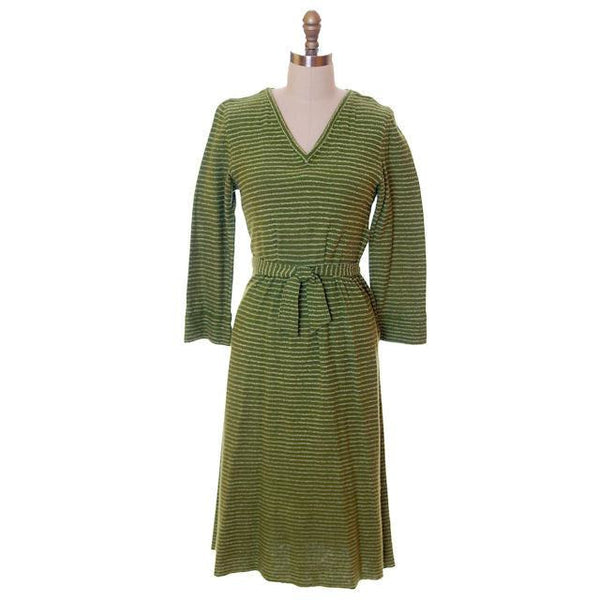 Vintage Green Striped Wool Knit Dress 1940s Sacony 32-25-36 - The Best Vintage Clothing  - 1