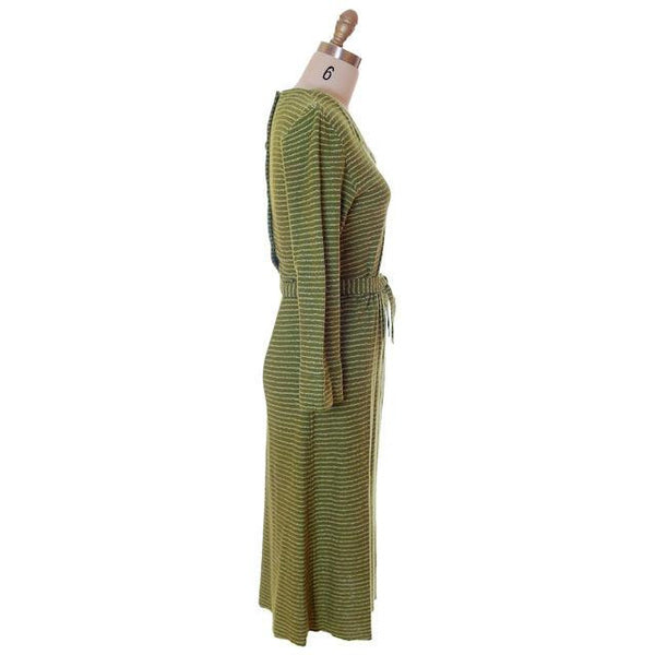 Vintage Green Striped Wool Knit Dress 1940s Sacony 32-25-36 - The Best Vintage Clothing  - 2
