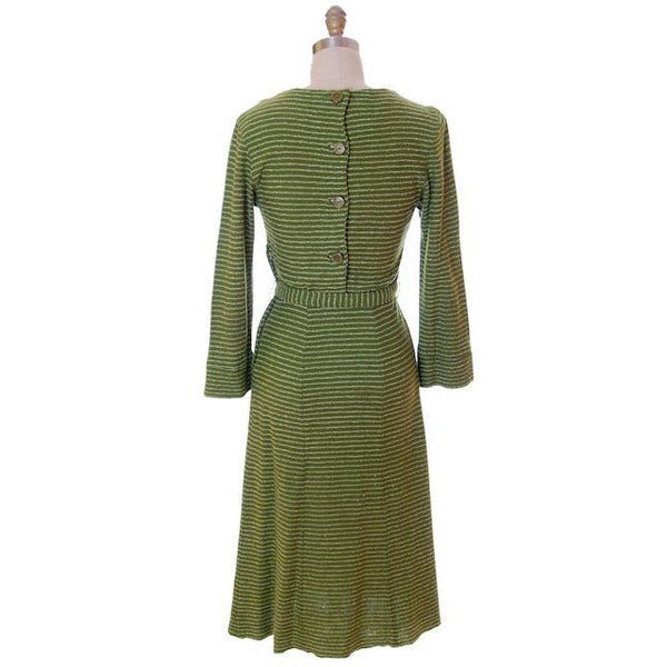Vintage Green Striped Wool Knit Dress 1940s Sacony 32-25-36 - The Best Vintage Clothing  - 3