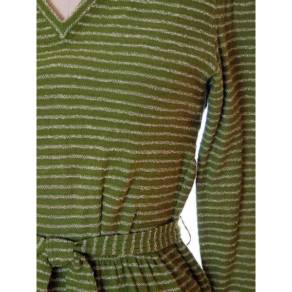 Vintage Green Striped Wool Knit Dress 1940s Sacony 32-25-36 - The Best Vintage Clothing  - 4