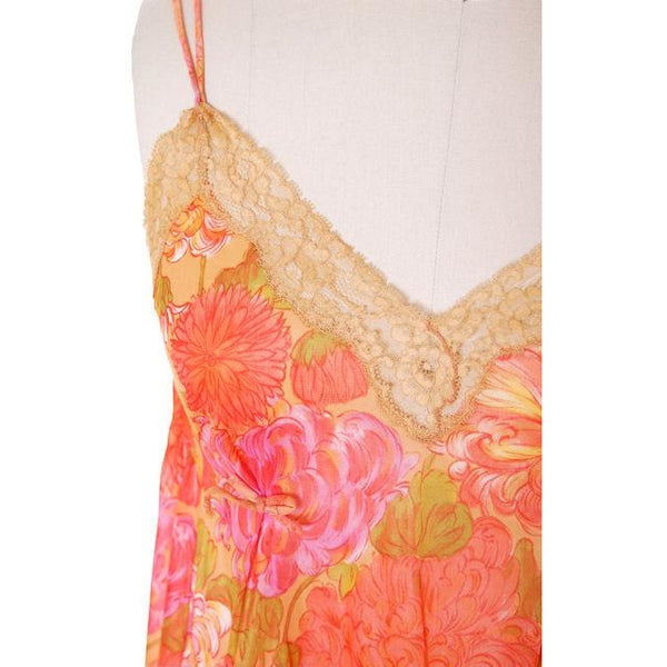 Vintage Vanity Fair Lingerie 3 PC Peignoir 1960s Orange Florals Nylon Medium - The Best Vintage Clothing  - 11