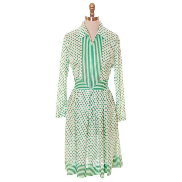 Vintage Geometric Print Dress Green & White Nancy Greer 1970s 38-27-FREE - The Best Vintage Clothing  - 1