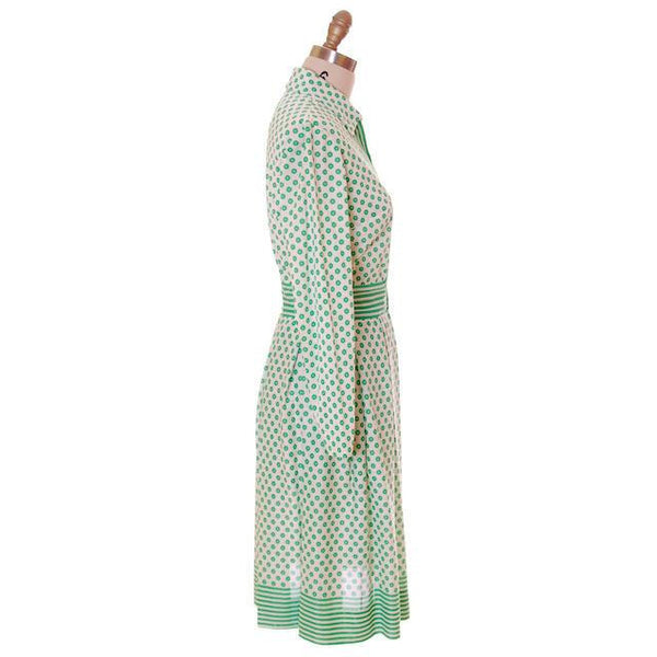 Vintage Geometric Print Dress Green & White Nancy Greer 1970s 38-27-FREE - The Best Vintage Clothing  - 2