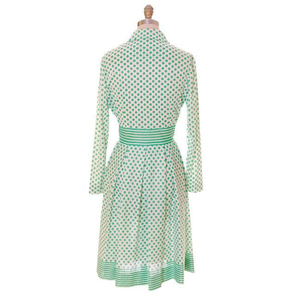 Vintage Geometric Print Dress Green & White Nancy Greer 1970s 38-27-FREE - The Best Vintage Clothing  - 3