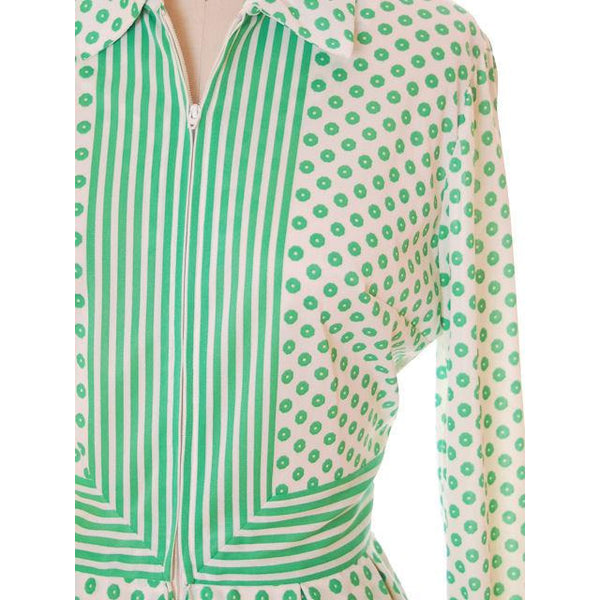 Vintage Geometric Print Dress Green & White Nancy Greer 1970s 38-27-FREE - The Best Vintage Clothing  - 4