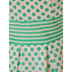 Vintage Geometric Print Dress Green & White Nancy Greer 1970s 38-27-FREE - The Best Vintage Clothing  - 5